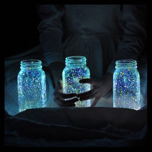 Just flick glow in the dark paint onto the insides of jars and recreate the magic of fireflies.