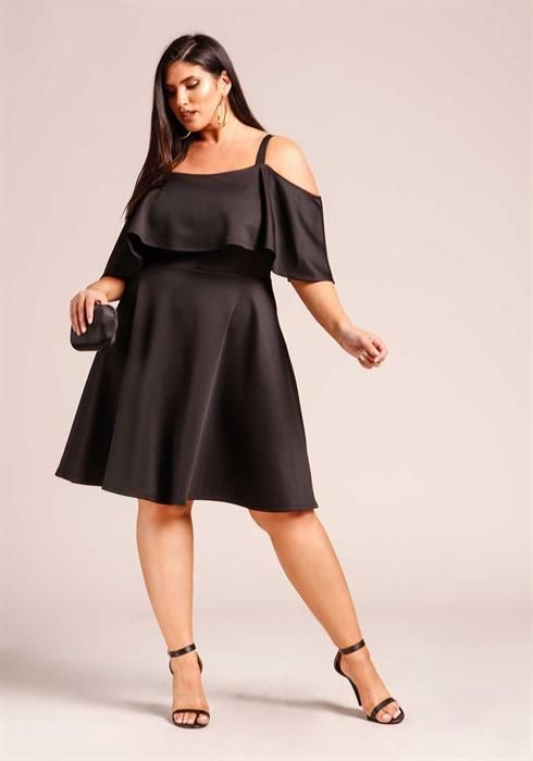 $37.95---Plus Size Cold Shoulder Layered Flared Dress in ...
