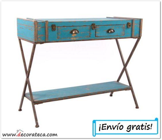Mesa recibidor azul con forma de maleta consolas de - Muebles de entrada vintage ...