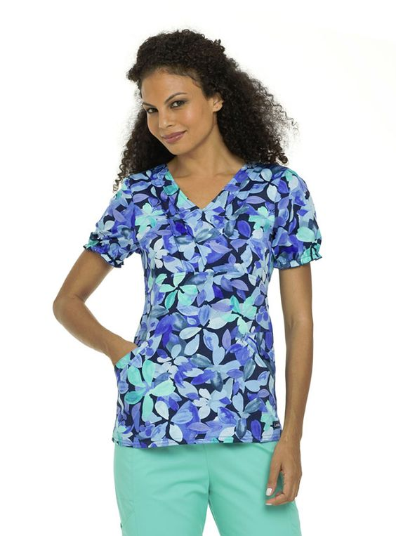 This Landau nursing scrub top has youthful elegant appeal. It features a pin tucked faux crossover neckline and empire waist, which gives this top a flattering silhouette.