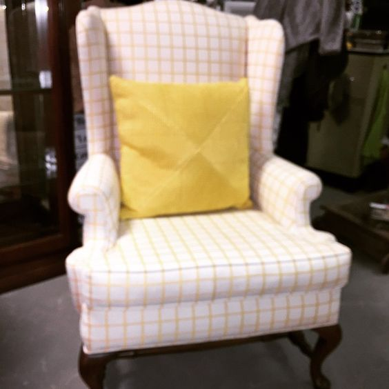 Pretty Yellow & Cream Wingback Chair