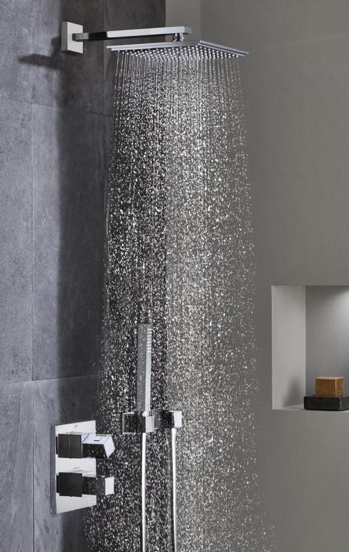 Grohe Grohtherm Cube Shower System Flush Mounted With Rainshower