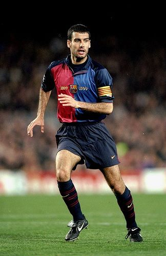 Pep Guardiola former midfielder at FC Barcelona and the Spanish national football team and former coach for FC Barcelona