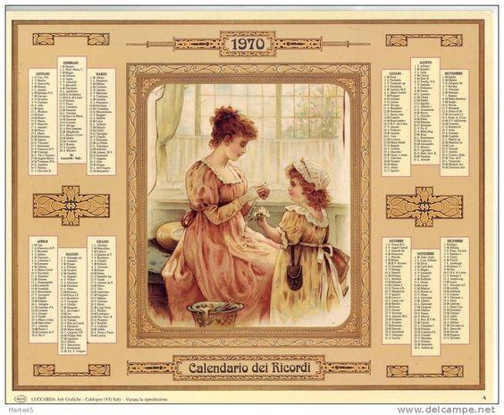 Calendario dei ricordi anno 1970