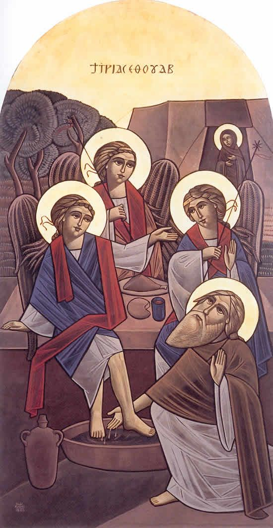 coptic washing of the feet   http://eocf.free.fr/Images/3anges1.jpg: