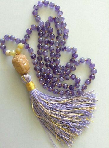 Beads AMETHYST Chakra Beads Prayer Multi-layer Tassel Mala Necklace Bracelet Meditation