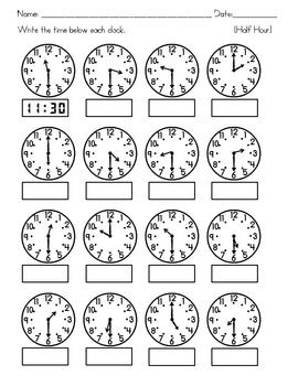 Free Worksheets time worksheets to the nearest half hour : Clocks - Tell Time to the nearest Hour, Half Hour, Quarter Hour ...