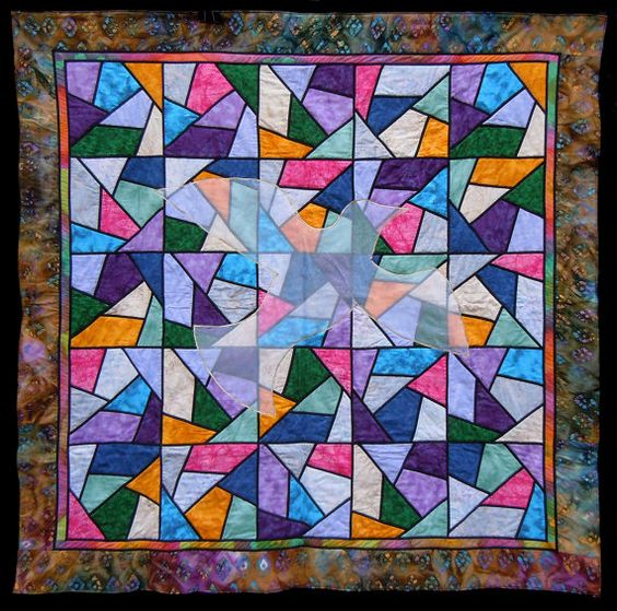 Q38  Stained Glass Quilt with Dove by KaleidoQuilt on Etsy, $800.00