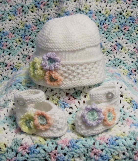 Forget-me-not knit baby hat & booties (for soon to arrive grande niece)