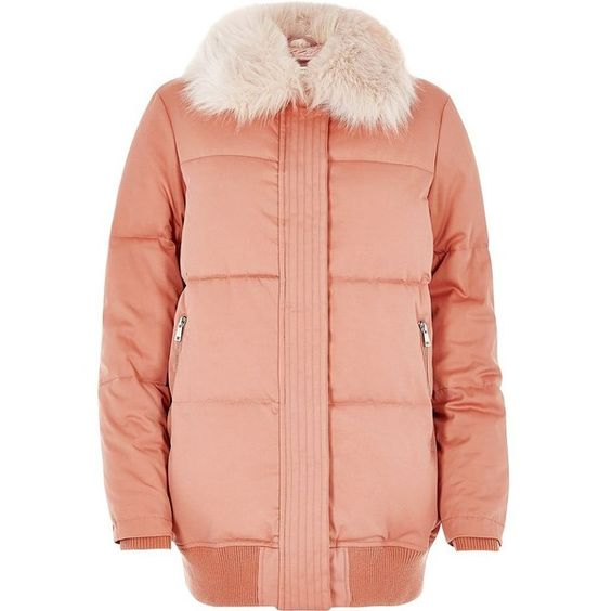 River Island Pink padded coat with faux fur trim (145 CAD