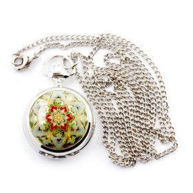antikes Gold Blume Quarz kleine Taschenuhr Kette Halskette