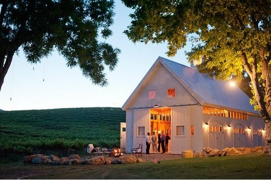 White barn ablaze for party time...