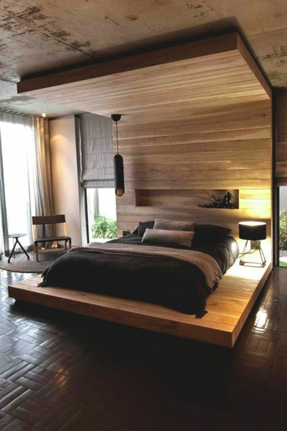 schlafzimmer modern und gem tlich ausstatten h lzerne struktur einrichten pinterest modern. Black Bedroom Furniture Sets. Home Design Ideas