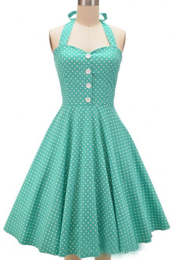 Mint Long Polka Dot Vintage Dress: