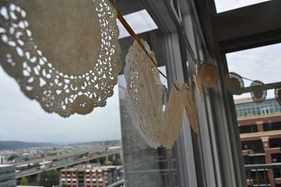 Tea Stained Doily Garland