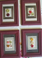 Vintage Buttons In Frame Primitive Country Americana Wall Art