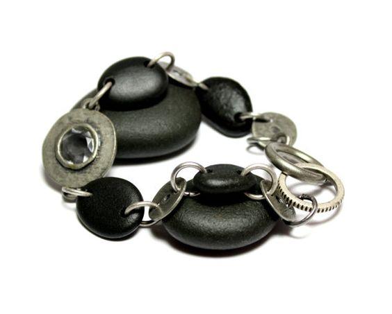 Black Stone Beaded Jewelry Bracelet Ebony Style by Allybeans, $32.00