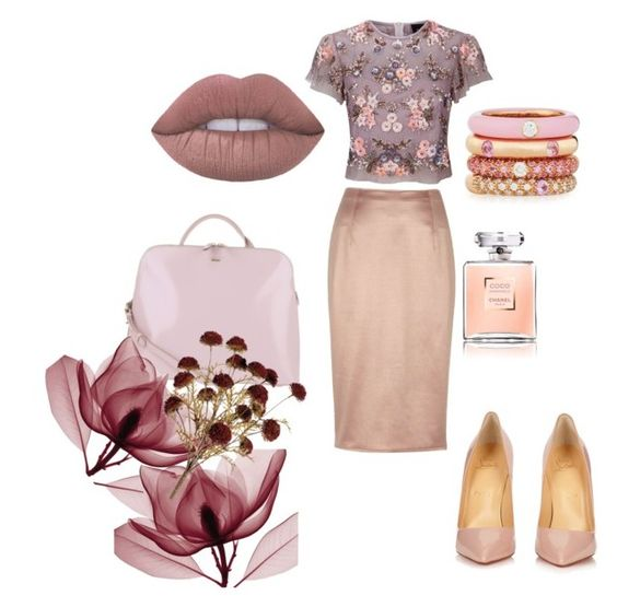"""Untitled #31 blush"" by daritzabenitezsalinas on Polyvore featuring River Island, Needle & Thread, Christian Louboutin, Radley and Adolfo Courrier"