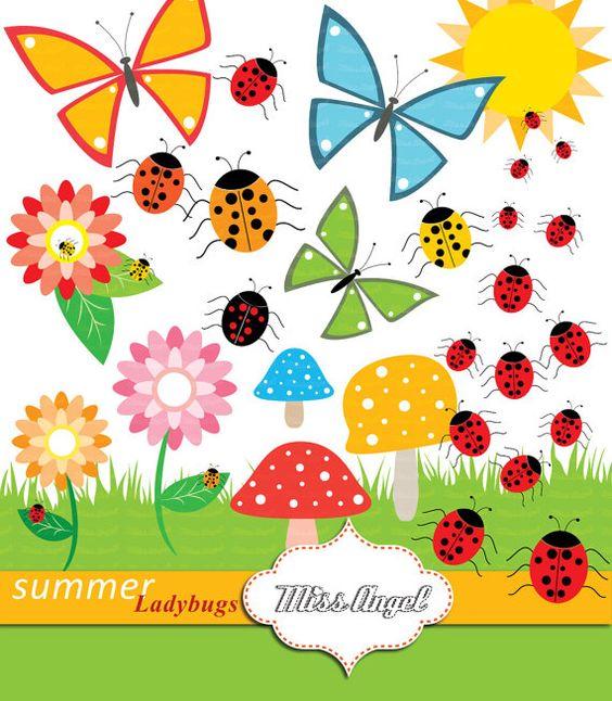 Summer Ladybugs Mushrooms Flowers Butterflies by MissAngelClipArt