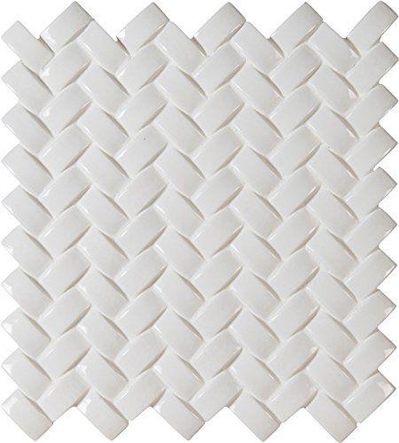 Super White Arched Herringbone Glazed Ceramic Mesh-Mounte...