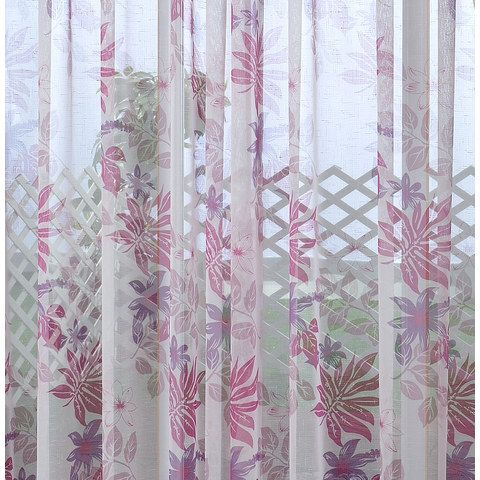 Tropical Leaves Purple Pink Voile Curtain Build Up Your Own