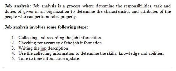 Conduct A Job Analysis Choose A Job You Wish To S Chegg - job analysis