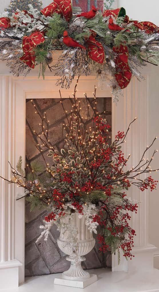 Floral Tree Centerpiece : New raz christmas frosted lighted willow branch inches