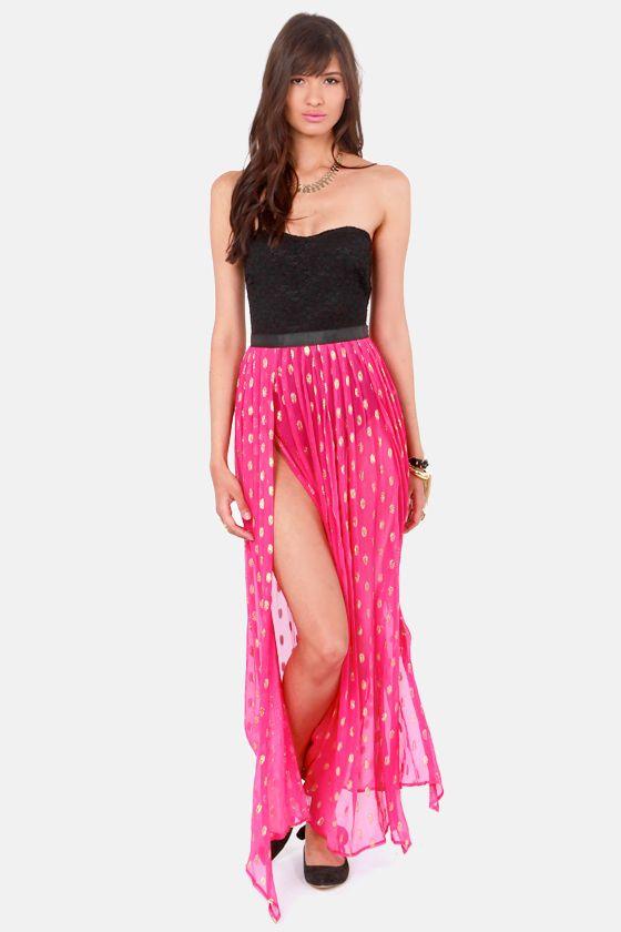 Gypsy Junkies Oceana High Slit Silk Fuchsia Maxi Skirt