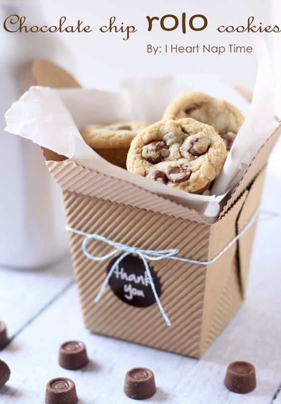 Chocolate chip rolo cookies in a take out box...mmm. What a fun gift idea! From iheartnaptime.net