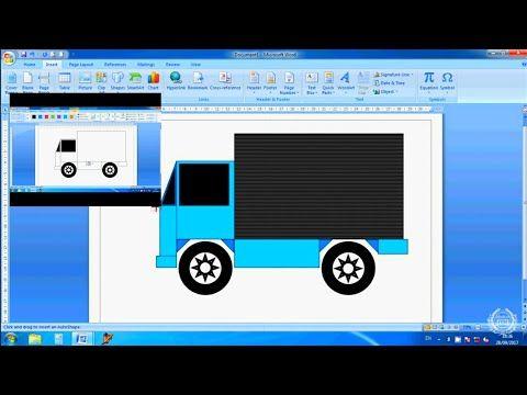 Menggambar Mobil Truk Di Ms Word Drawing A Car Truck In Ms Word Youtube Word Drawings Diy Tutorial Words