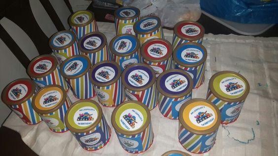 Dulces cumpleaños Pocoyo en lata de leche reciclada DIY