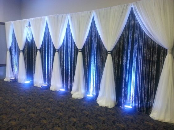 Black & White backdrop with crystal curtains | TDL Events Designs ...