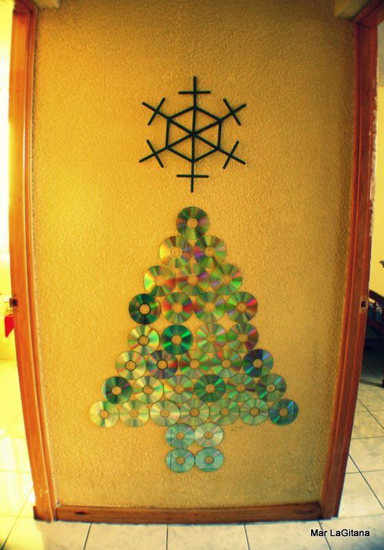 Recicla cds para navidad.