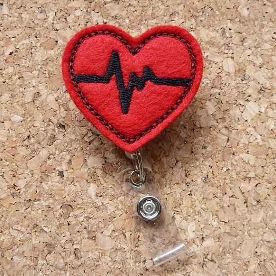 Red EKG Heart Badge Reel - ID Cardiac Badge Reel - Felt Badge Reel - Lanyard - Retractable Name Holder - Nurse / Medical Workers -  SSF