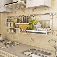 Stainless Steel Multifunction Wall Mounted Pan Pot Rack Kitchen