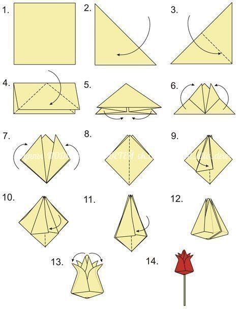 How to Make Origami Flowers - Origami Tulip Tutorial with Diagram - Easy  Peasy and Fun | 608x470