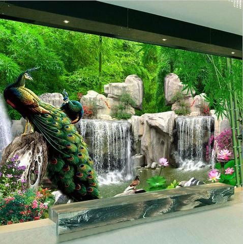3d Peacock Forest Waterfall Design Wallpaper For Walls Indoor