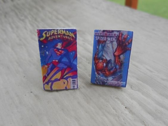 Mini Comic Book Cufflinks. SUPERMAN & SPIDERMAN. Wedding, Men's Christmas Gift, Dad. Silver Plated.