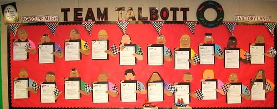 bulletin board for student work; add ipods for rockstar theme or glove and mitts for sports...