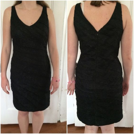 New! Ann Taylor Black Dress. New with tags from Ann Taylor. Maybe worn once but in beautiful condition. It is really nice for a cocktail party, wedding, or fancy event. Has a v-neck front and back and fits like a glove. Please make an offer or buy if interested. Ann Taylor Dresses Midi