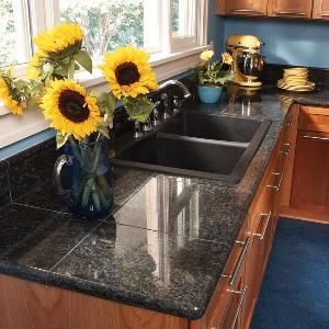 Get the look wood cabinets and countertops on pinterest for Can you replace kitchen cabinets without replacing countertop