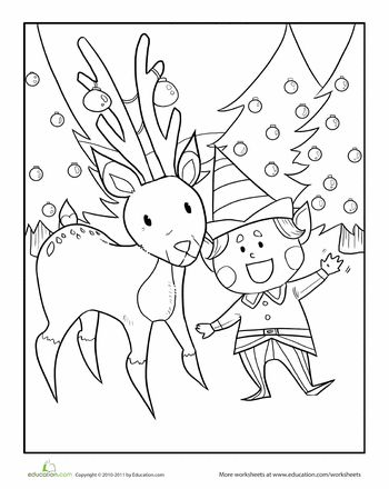 Color the elf and his reindeer friend coloring pages for Friends coloring pages for preschoolers
