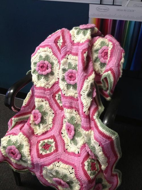 This pattern was originally published with a Woman's Day kit in 1984 Its called A Blanket of Roses Afghan. I found the Free written pattern here at this link http://megan.cc/RosesBlanket/pattern.html There are Crochet Graph Charts of the Octagon and square too if you scroll down to the bottom of the pattern for those that are more visual. I love those graph chart helps (‿◠)✌