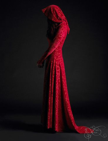 Calista Hooded Dress - Red Riding Hood Fairy Tale Wedding Dress