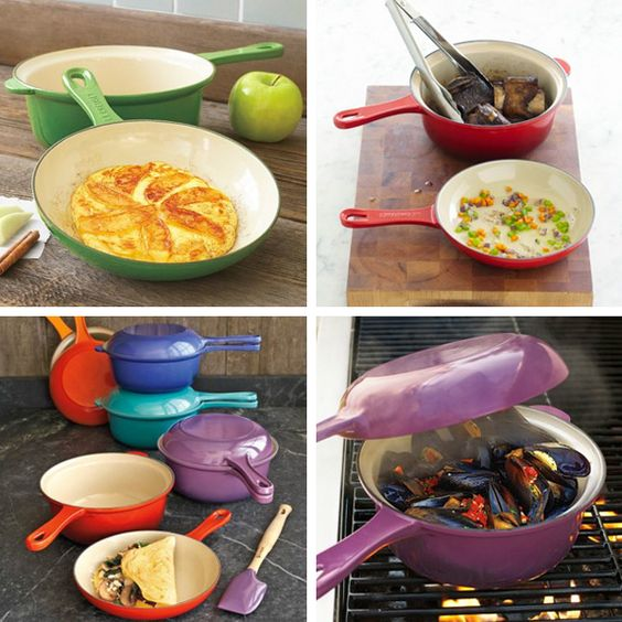 Coloured Le Creuset 2in1