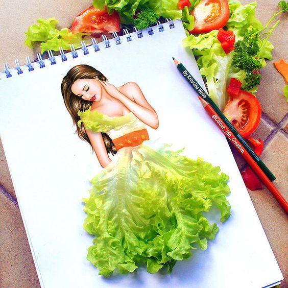 Mädchen im Salatkleid