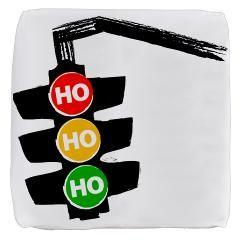 Ho Ho Ho Traffic Lights Cube Ottoman