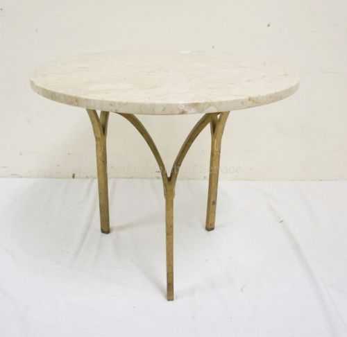 ITALIAN-MARBLE-TOP-TABLE-WITH-3-IRON-LEGS-WITH-A-BRASS-FINISH-WORN-Lot-1041