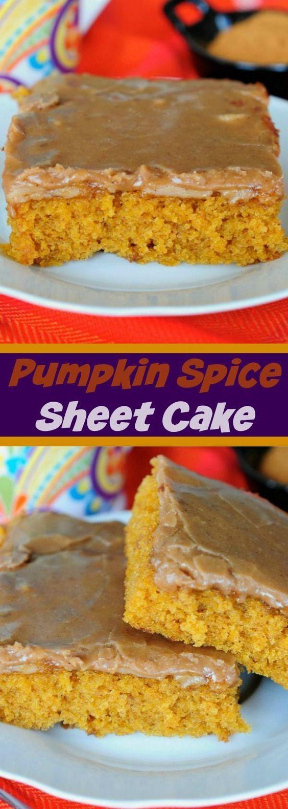 Pumpkin Spice Sheet Cake - An absolute MUST MAKE fall dessert recipe!