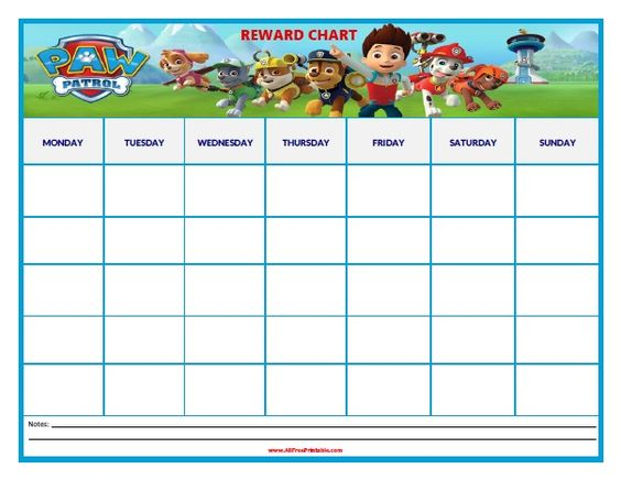 Paw Patrol Reward Chart Coloring Pages Pinterest